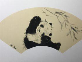 画家の筆にパンダ🐼生き生き-錦亭東-何紅英-成都市