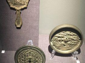 有柄菱花銅鏡-詩文銅鏡-日本仙鶴松樹紋銅鏡-物色-明代女子の生活芸術展-四川博物院-成都市