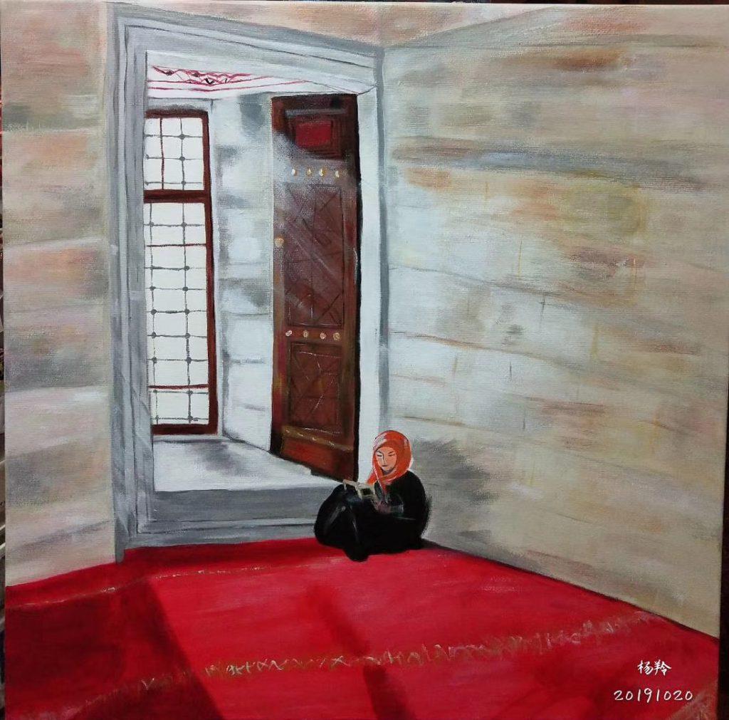 モスクに聖書を独自に読む女の子-画:楊羚