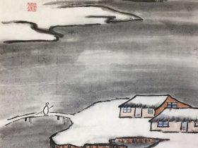 逢雪宿芙蓉山主人-唐代· 劉長卿-書・画:王英文-蘭裏居士