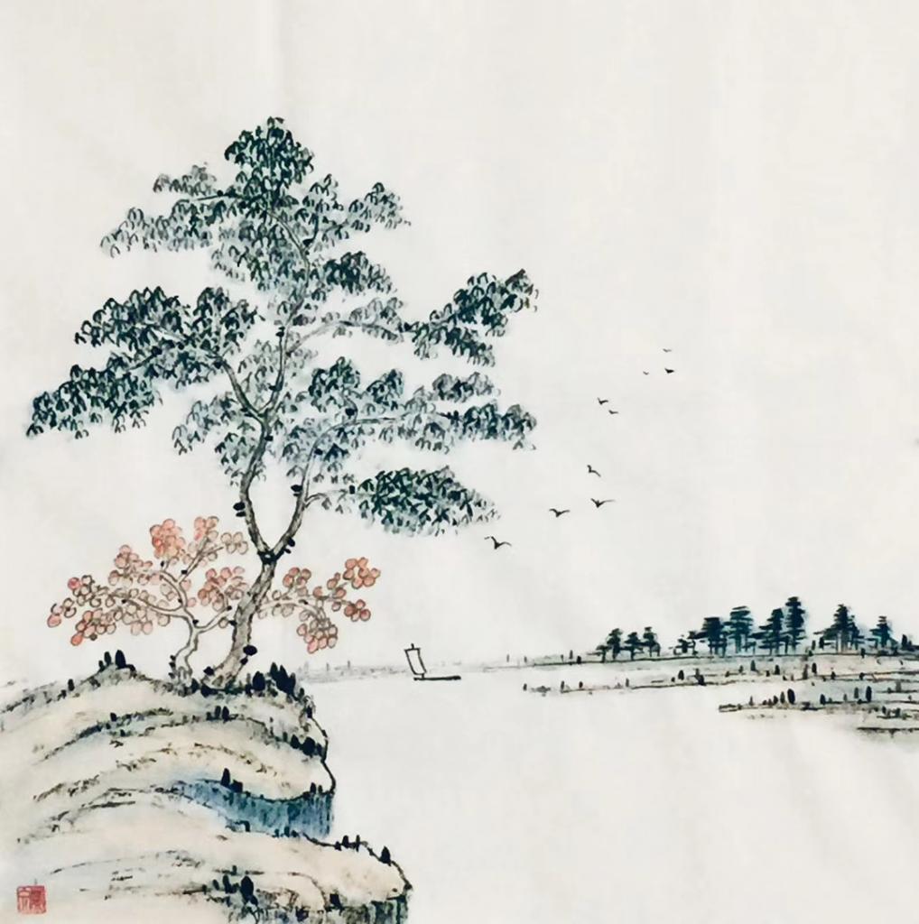 望洞庭-唐・劉禹錫-書・画:王英文–蘭里居士
