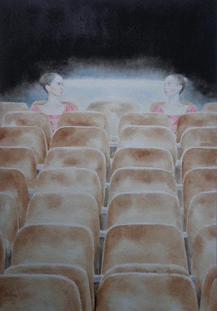ステージの下の白い光のビーム 水彩画 18x23cm 2018年