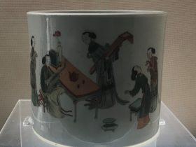 五彩仕女図筆筒-清・康熙-陶瓷館-陶磁館-四川博物院-成都