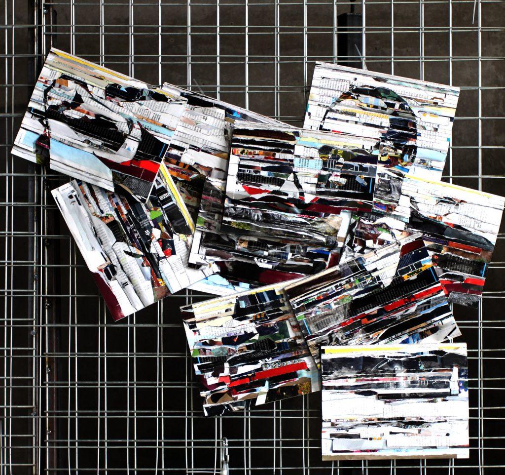 作品名称:審判;材料:雑誌書籍、鉄網、ケーブルタイ; 形式:装置; サイズ:長さ100cm、幅 100cm、 厚さ 4cm 作成年代 2019