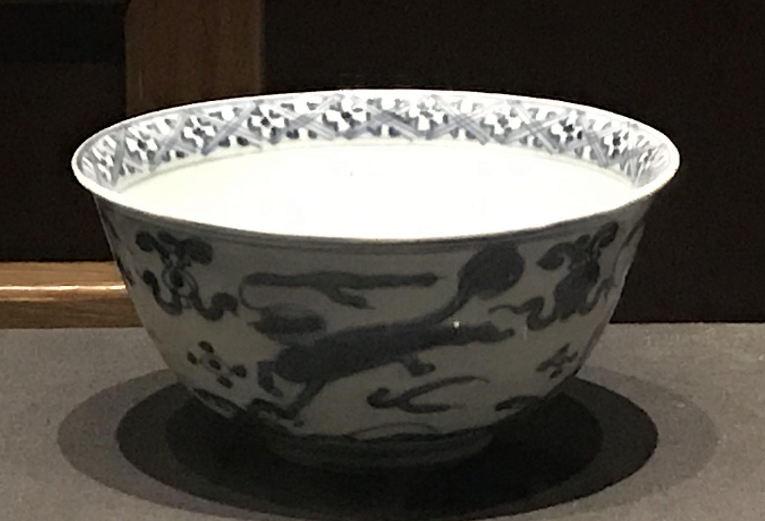 青花海水獣紋磁碗-明清時代-常設展F3-成都博物館