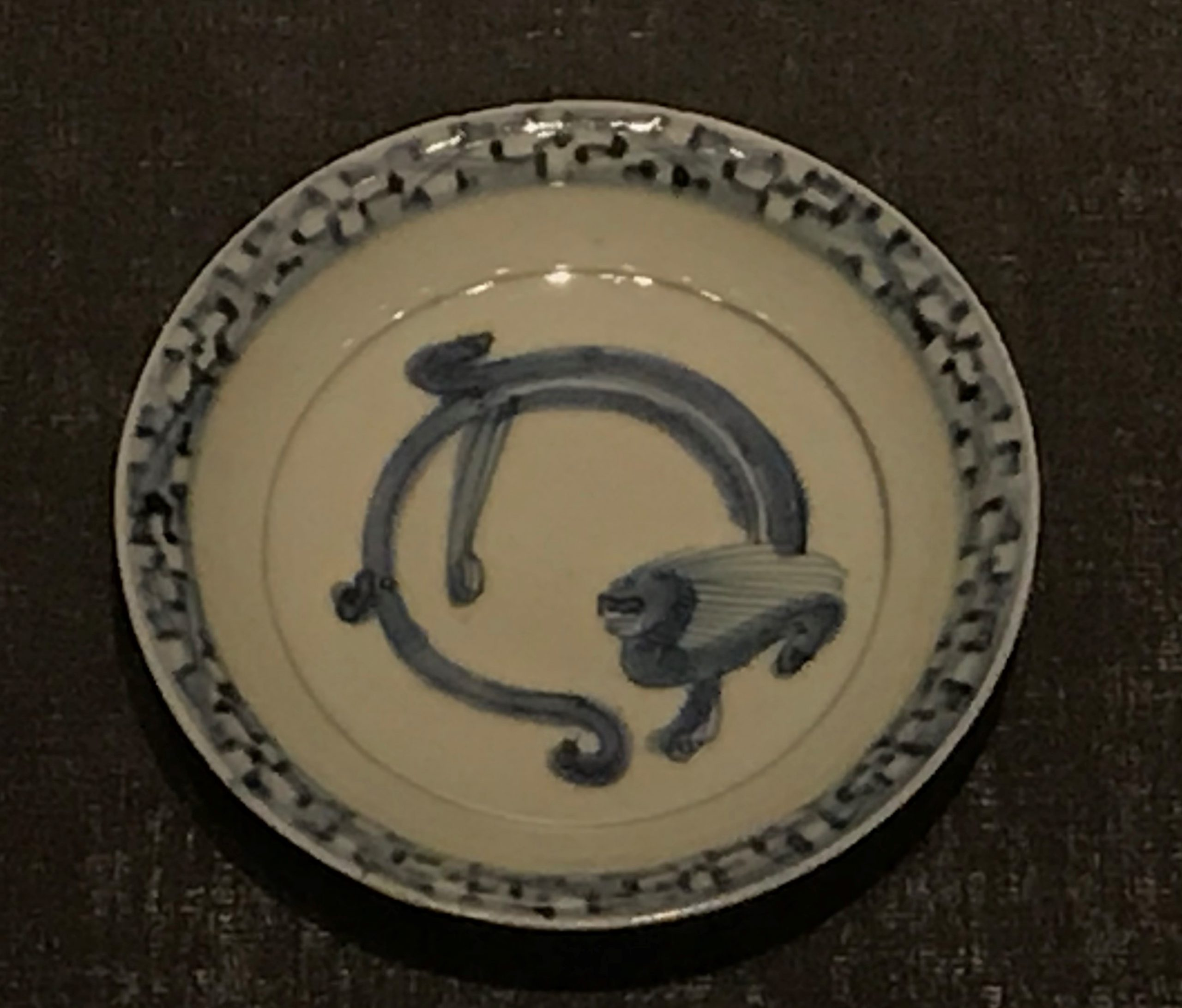 青花蟠螭紋磁盤-明清時代-常設展F3-成都博物館