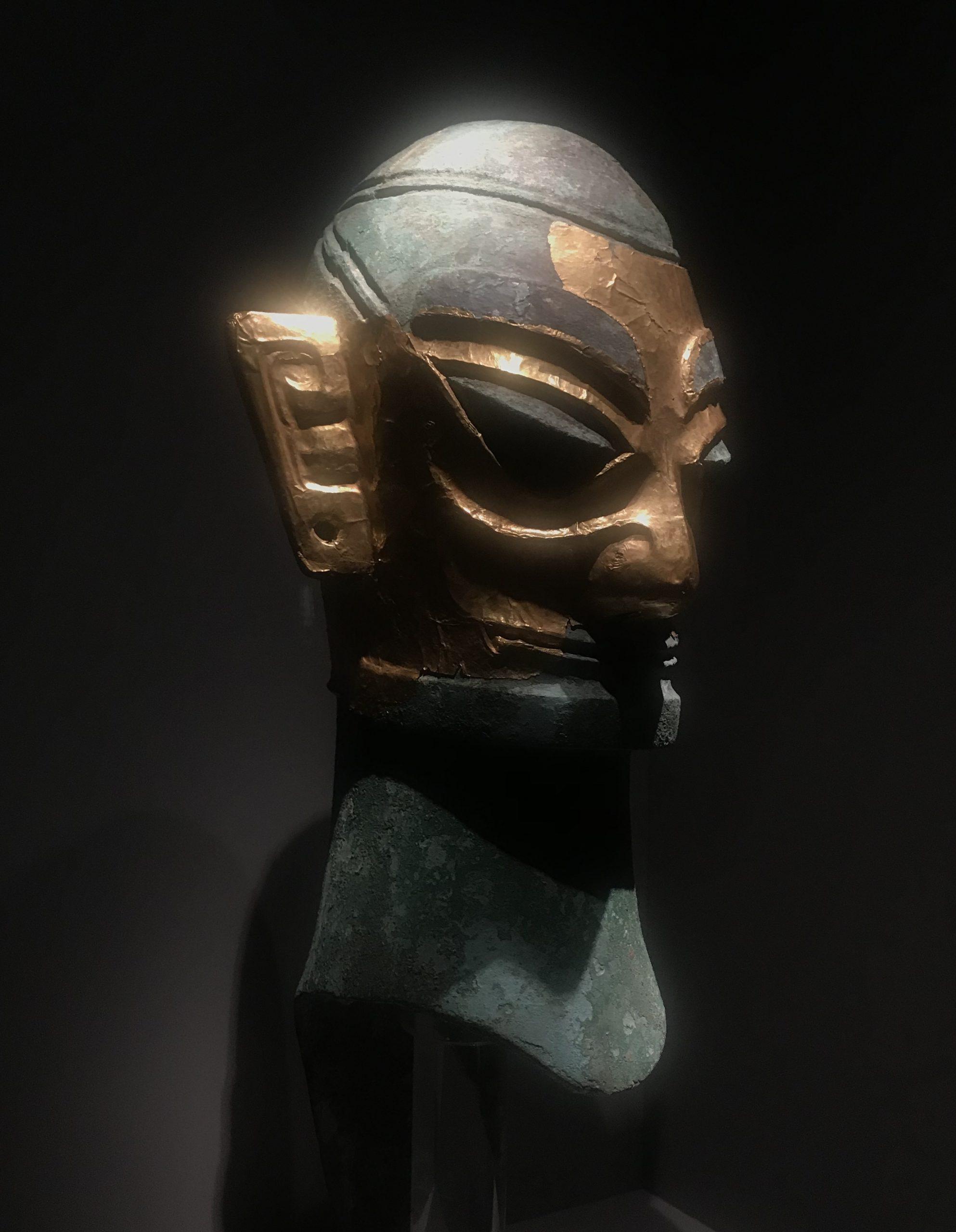 金マスク青銅人頭像2-青銅器館-三星堆博物館-広漢市-徳陽市-四川省