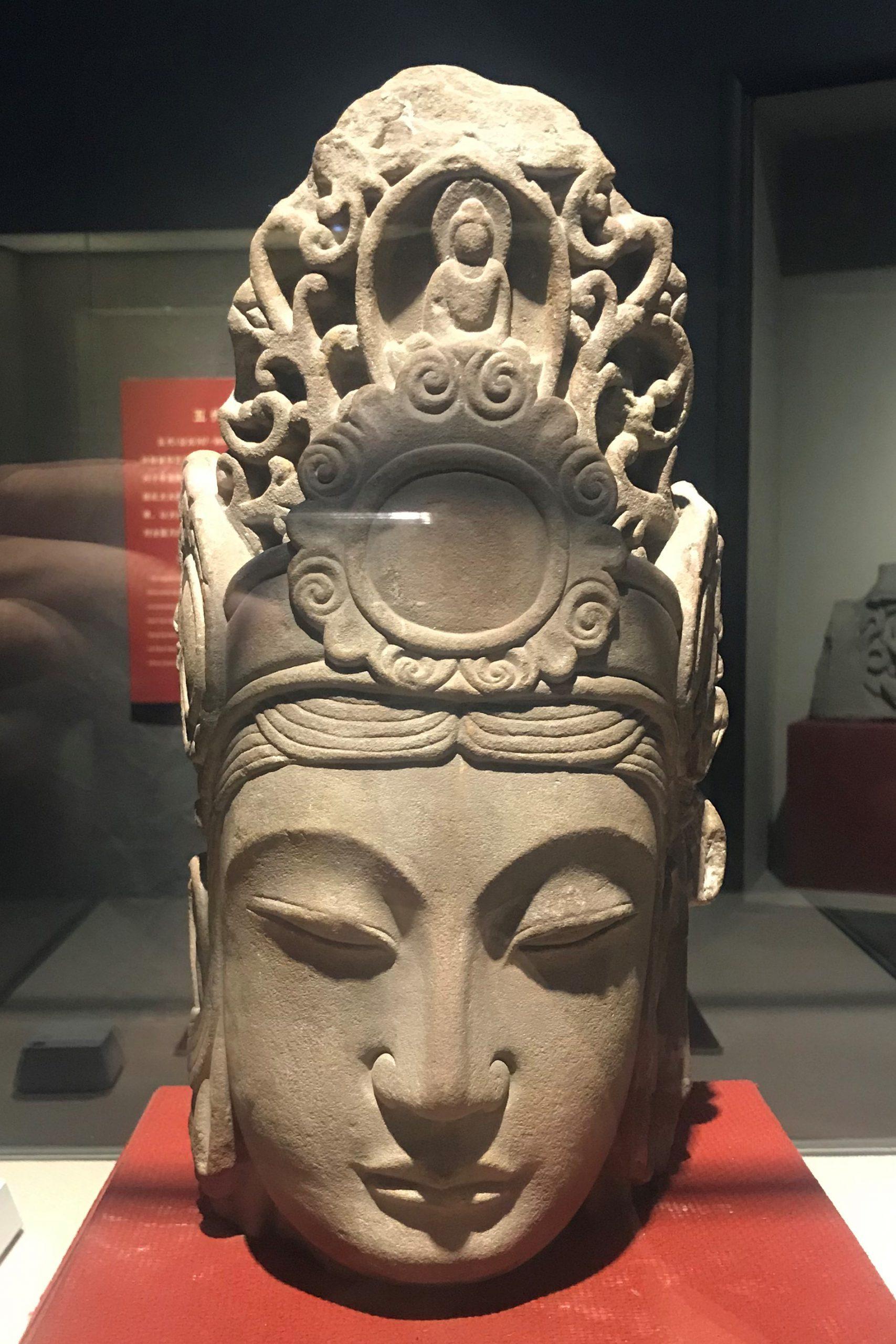 観音菩薩頭像-唐代-四川万仏寺石刻館-四川博物院-成都