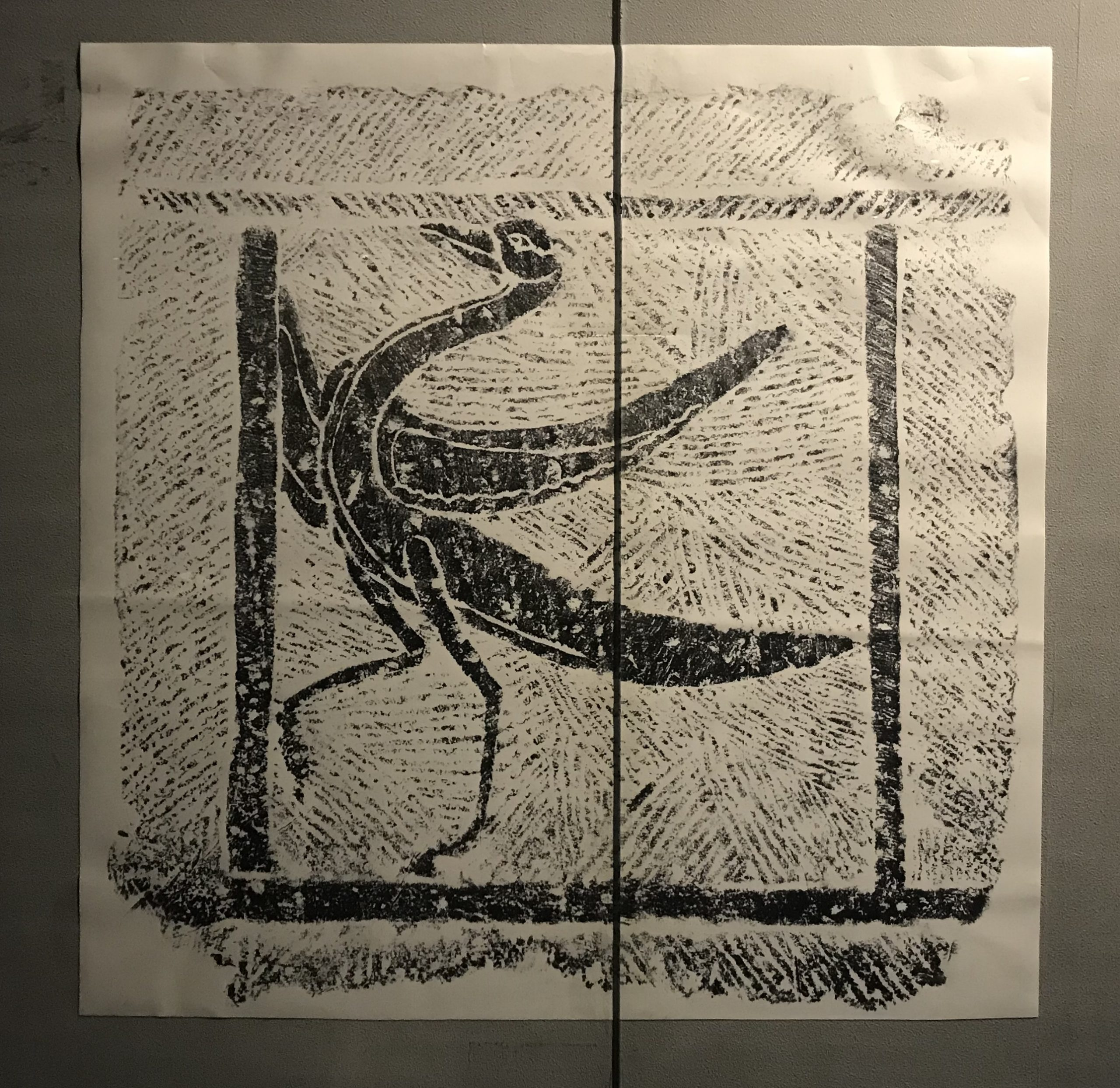 漢朱雀画像石棺頭-拓本-東漢-南溪県郊外長順坡出土-四川漢代陶石芸術館-四川博物院-成都