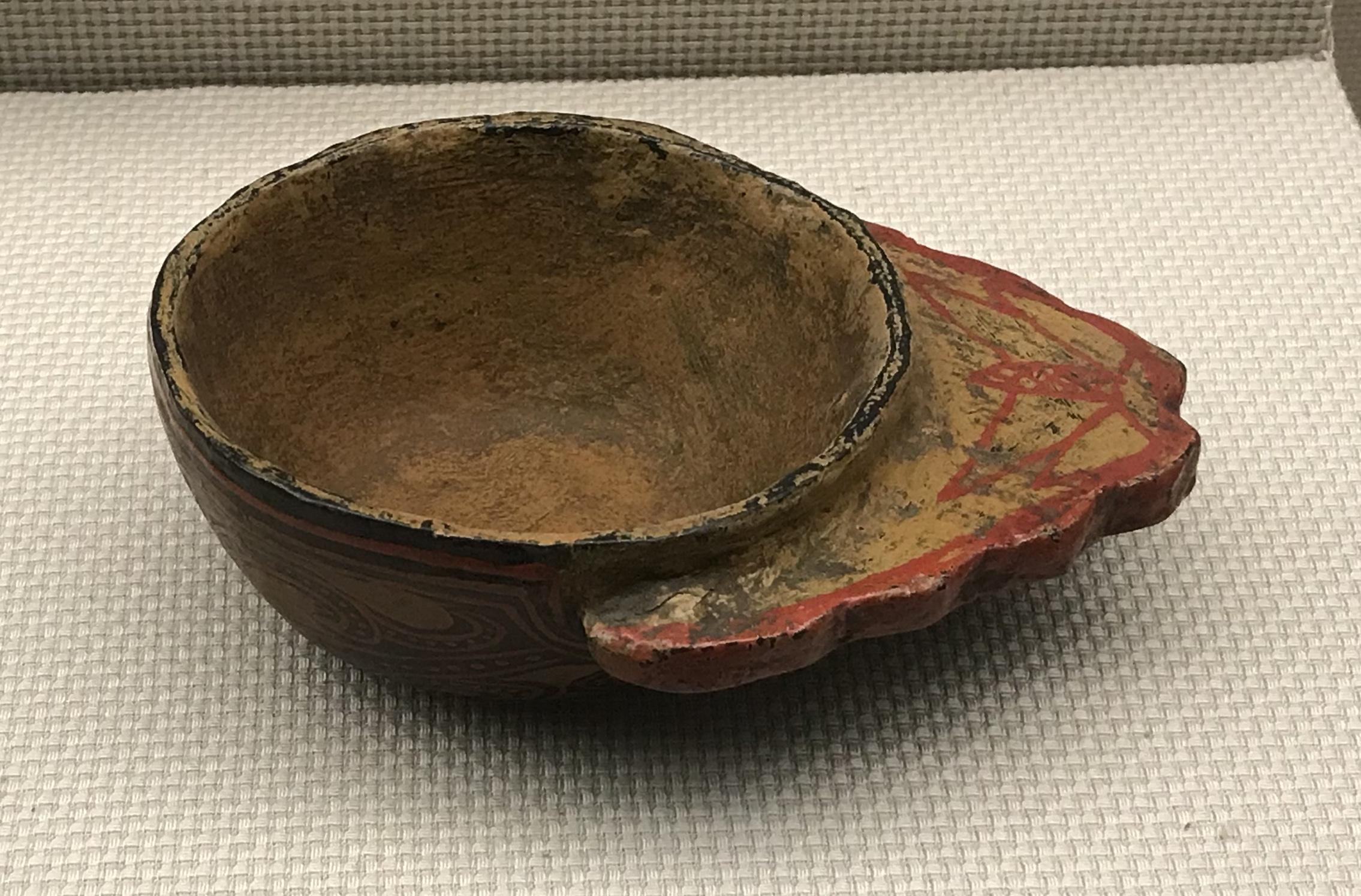 彩絵漆木鳥酒壺-彩絵鶏冠柄漆杯-彜族漆器-四川民族文物館-四川博物館-成都