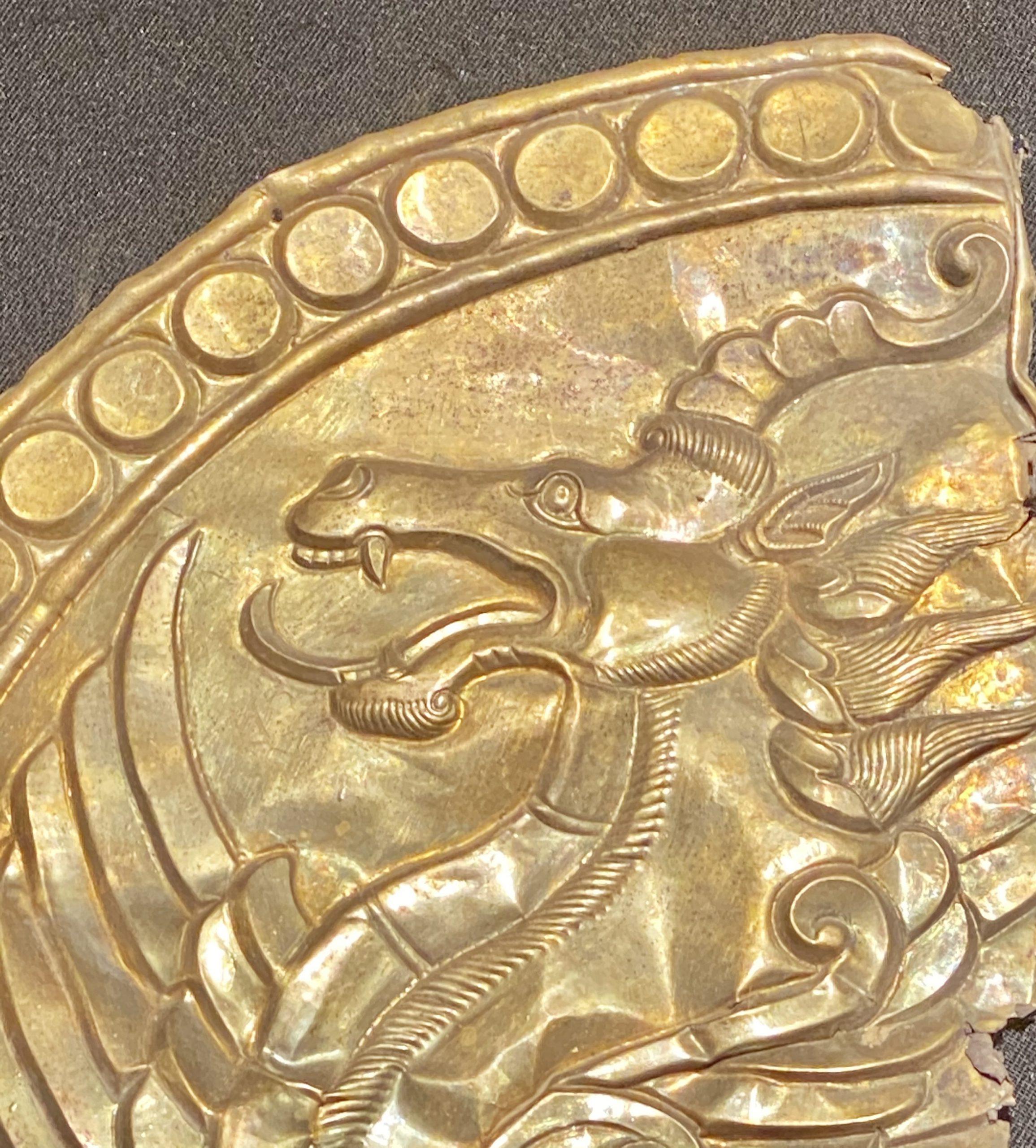 連珠紋鏨刻飛馬紋包金飾片-唐時代-巡回特別展【天歌長歌-唐蕃古道】-四川博物館