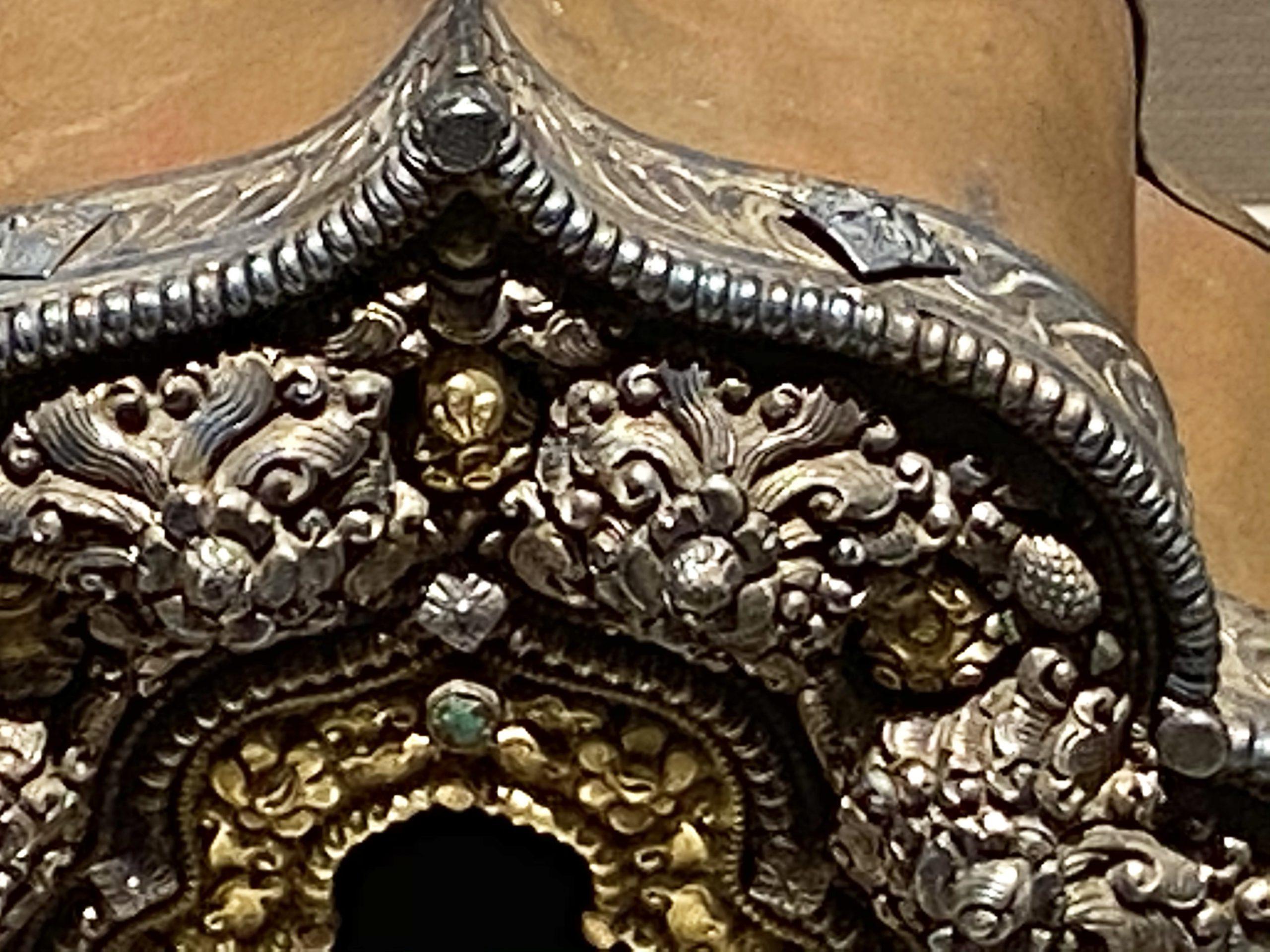 銀絲盤花嵌珠呷嗚盒-近代-巡回特別展【天歌長歌-唐蕃古道】-四川博物館