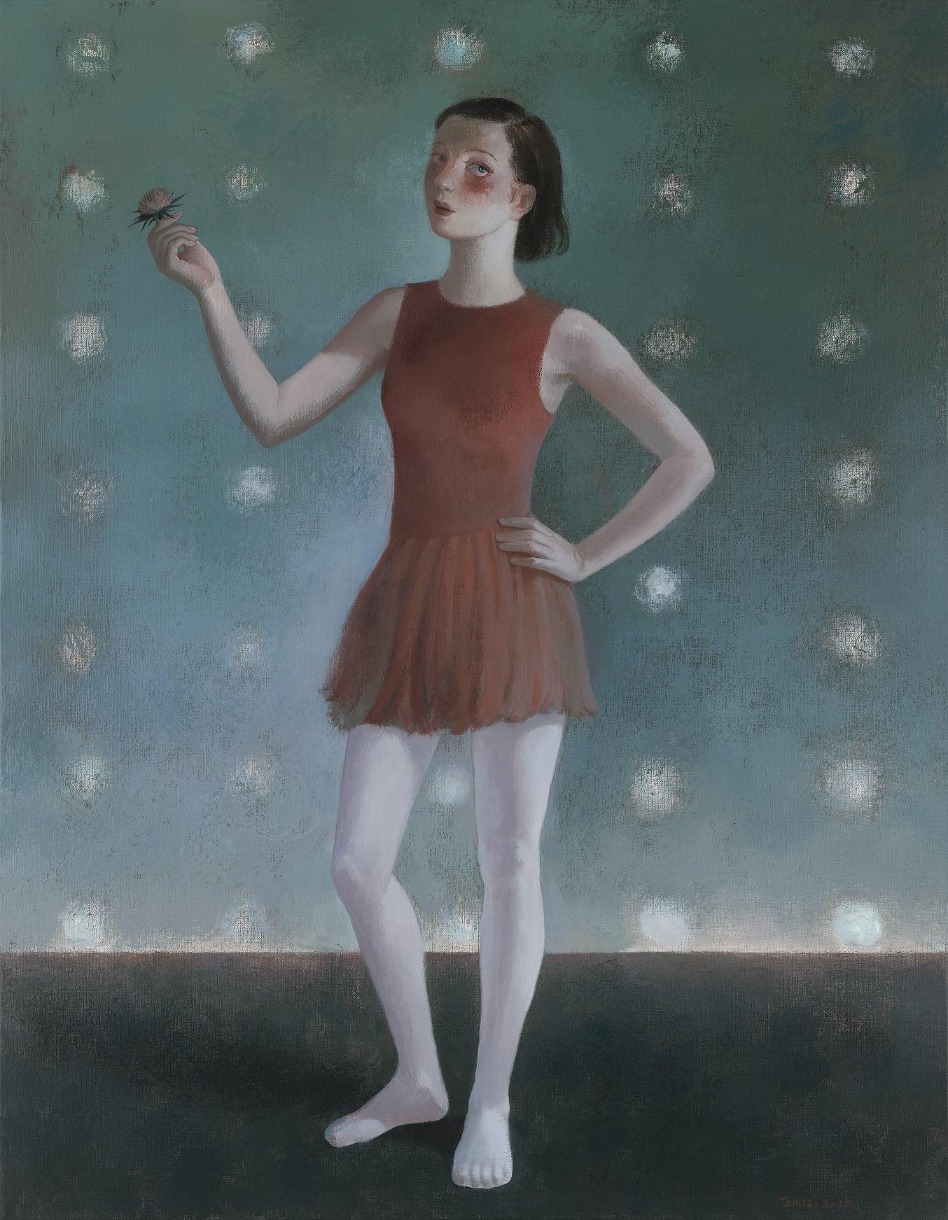 【灰色ピンクの花】90x60cm布面アクリル2020-【王小双絵画個展・言いたいことはまだ恥ずかしい】域上和美芸術館