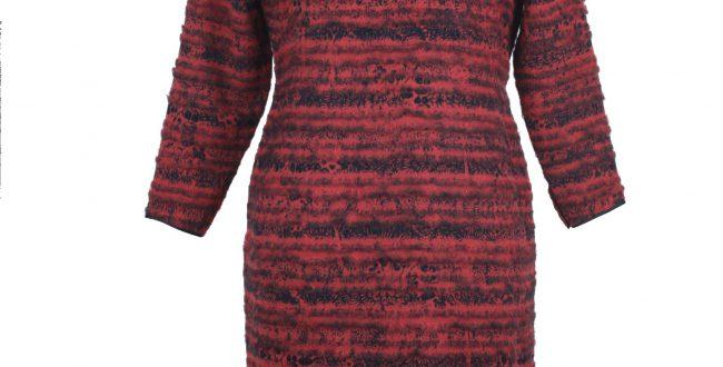 酒紅色印花薄呢拉絨長袖旗袍「海上の明月、軽い裾に風を追う-江南の貴族と海派チャイナドレス」上海大学博物館-海派文化博物館