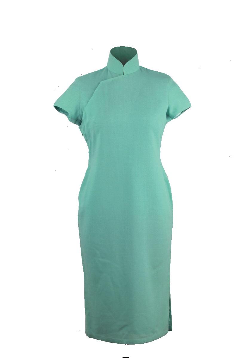 香綠色縐紗短袖旗袍-外套「海上の明月、軽い裾に風を追う-江南の貴族と海派チャイナドレス」上海大学博物館-海派文化博物館