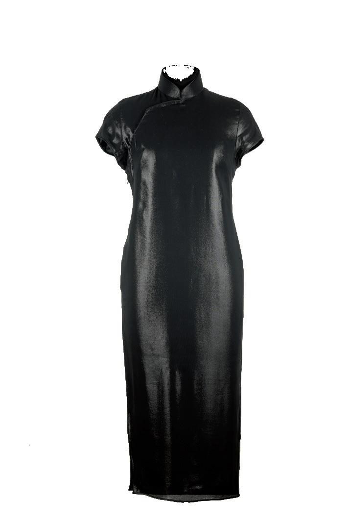 黑色針織綢短袖旗袍-綴片立領女短裝「海上の明月、軽い裾に風を追う-江南の貴族と海派チャイナドレス」上海大学博物館-海派文化博物館