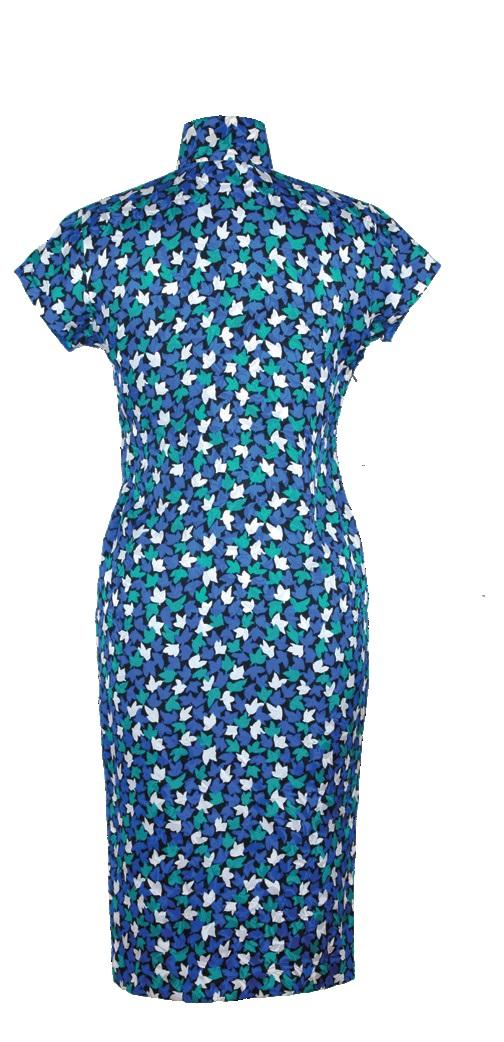 黑地葉形紋提花加印花短袖旗袍-女短裝「海上の明月、軽い裾に風を追う-江南の貴族と海派チャイナドレス」上海大学博物館-海派文化博物館
