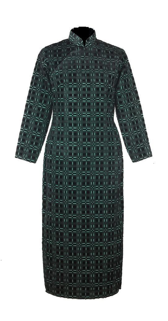 綠地黑方格提花絨長袖旗袍-中式女裝「海上の明月、軽い裾に風を追う-江南の貴族と海派チャイナドレス」上海大学博物館-海派文化博物館