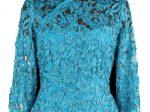 藍色蕾絲盤帶繡長袖旗袍「海上の明月、軽い裾に風を追う-江南の貴族と海派チャイナドレス」上海大学博物館-海派文化博物館