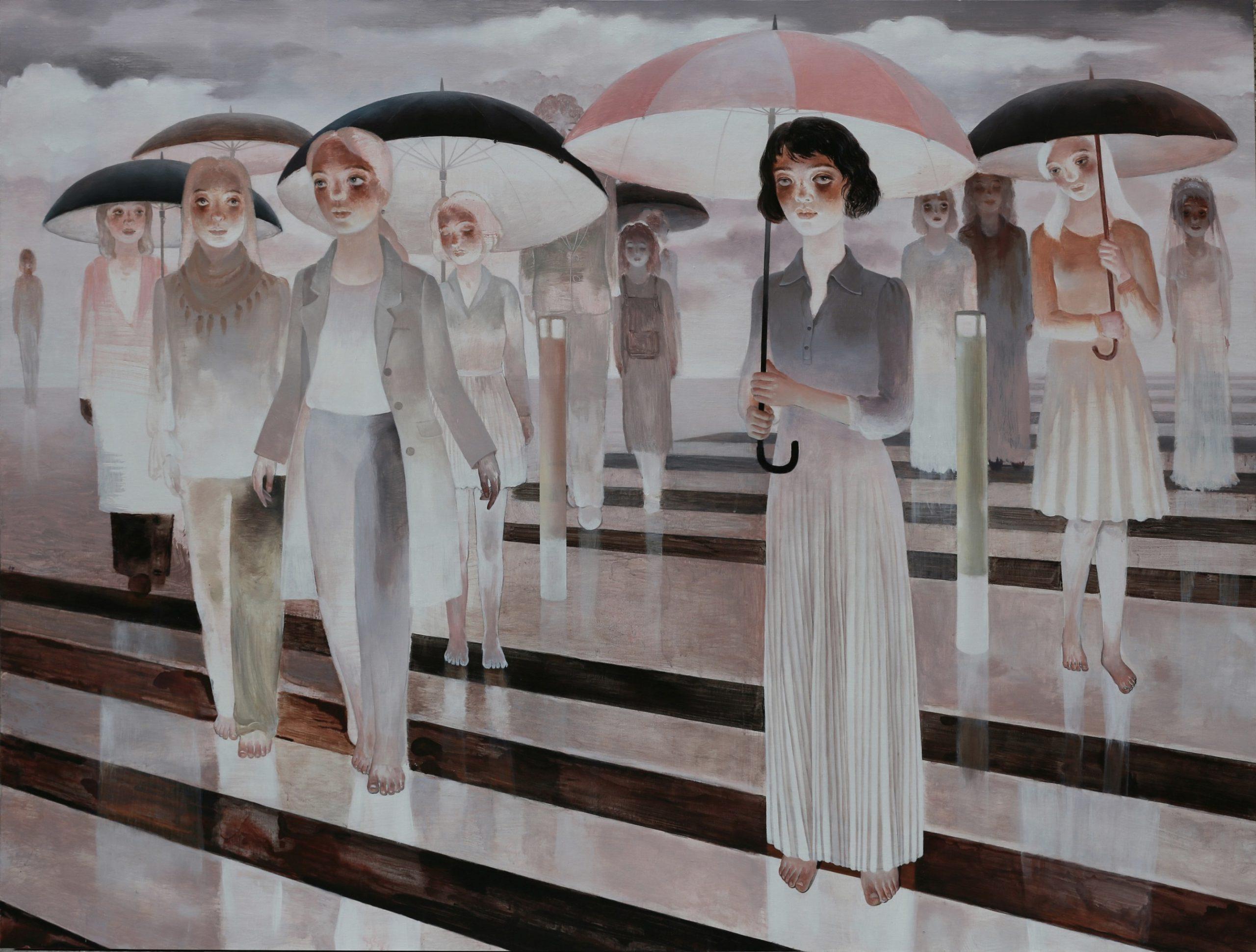 【遊離】150x200cm布面アクリル2015【王小双絵画個展・言いたいことはまだ恥ずかしい】域上和美芸術館