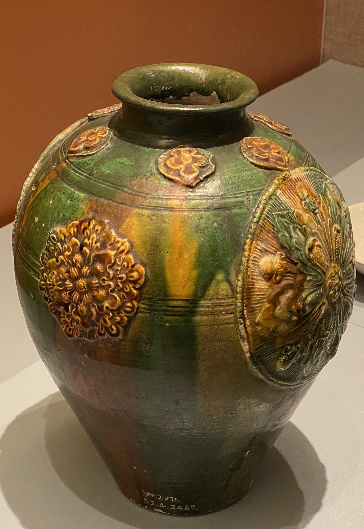 三彩釉貼花陶罐-唐時代-特別展【食味人間】四川博物院・中国国家博物館