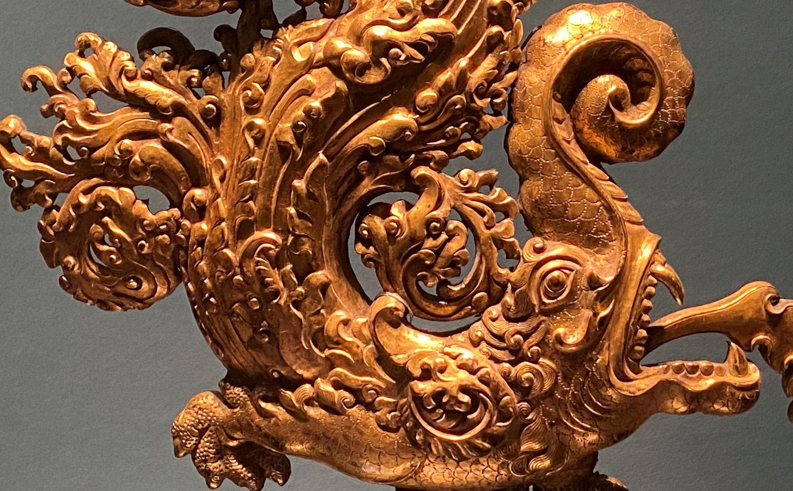 銅鎏金摩羯飾件-特別展【七宝玲瓏-ヒマラヤからの芸術珍品】-金沙遺跡博物館-成都