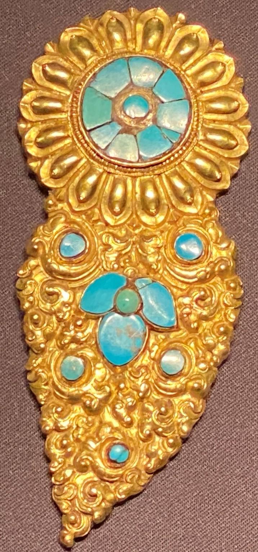 銅鎏金嵌緑松石神像耳飾-特別展【七宝玲瓏-ヒマラヤからの芸術珍品】-金沙遺跡博物館-成都