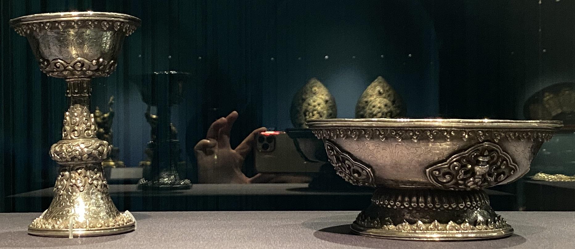銀高足杯・碗-特別展【七宝玲瓏-ヒマラヤからの芸術珍品】-金沙遺跡博物館-成都