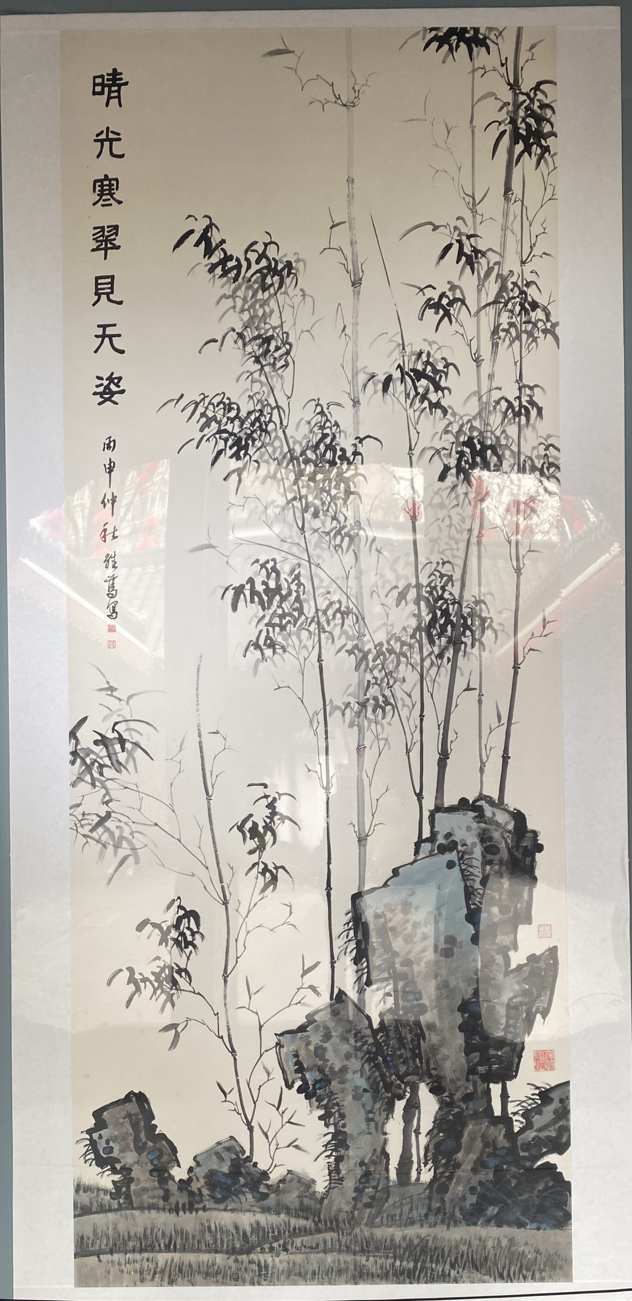 晴れ、寒くて緑、空の姿を見る-2016-中国画-361×143cm-「丹青を振りかけ、詩情を送る-何継篤個人書画展」成都市美術館