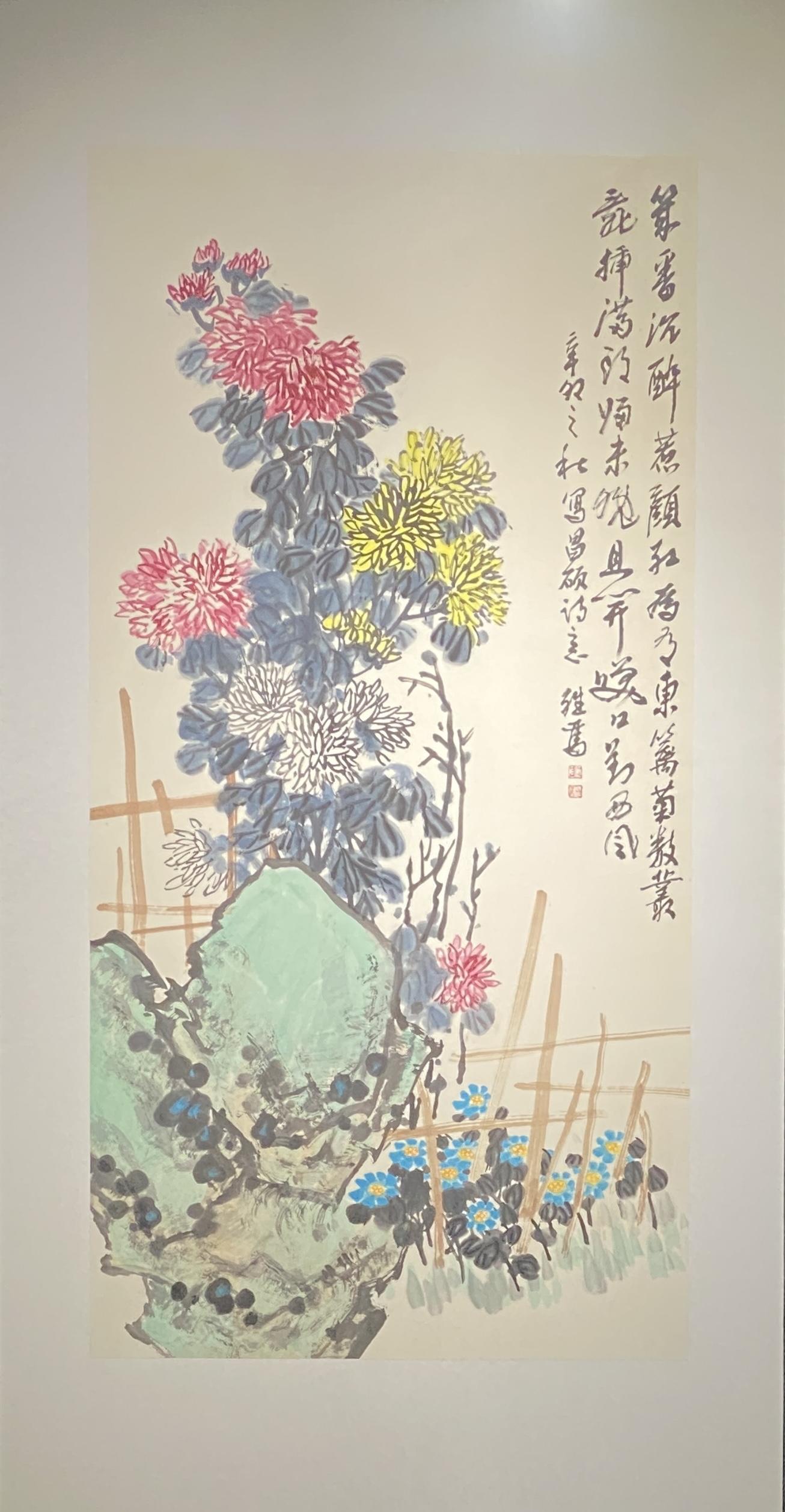 秋菊-2011-中国画-137×69cm-「丹青を振りかけ、詩情を送る-何継篤個人書画展」成都市美術館