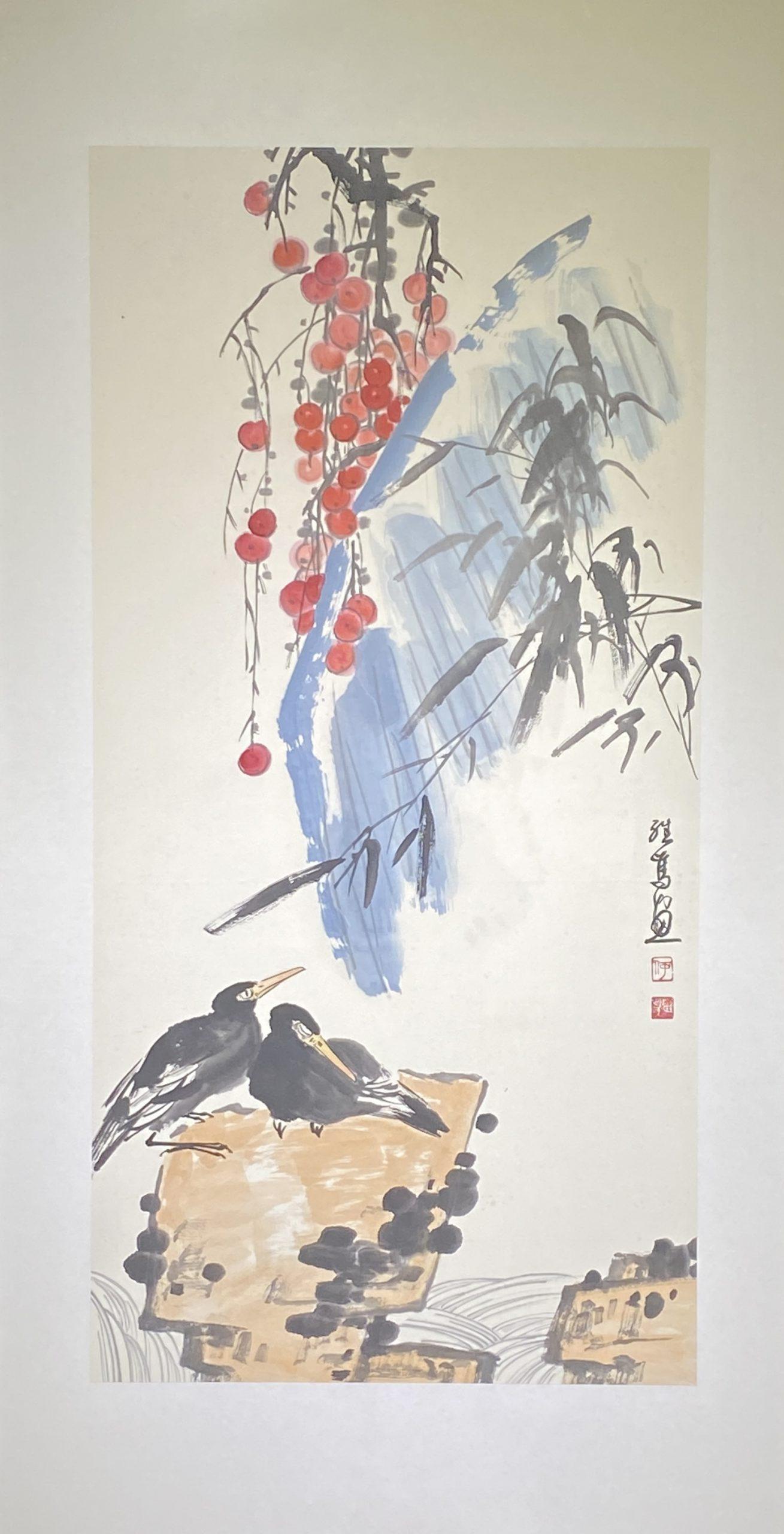 芭蕉双禽-1992-中国画-137×69cm-「丹青を振りかけ、詩情を送る-何継篤個人書画展」成都市美術館