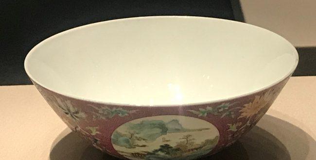 清乾隆・紫地粉彩开光山水図碗-漱芳齋-【重華宮へ入り】巡回展-成都博物館