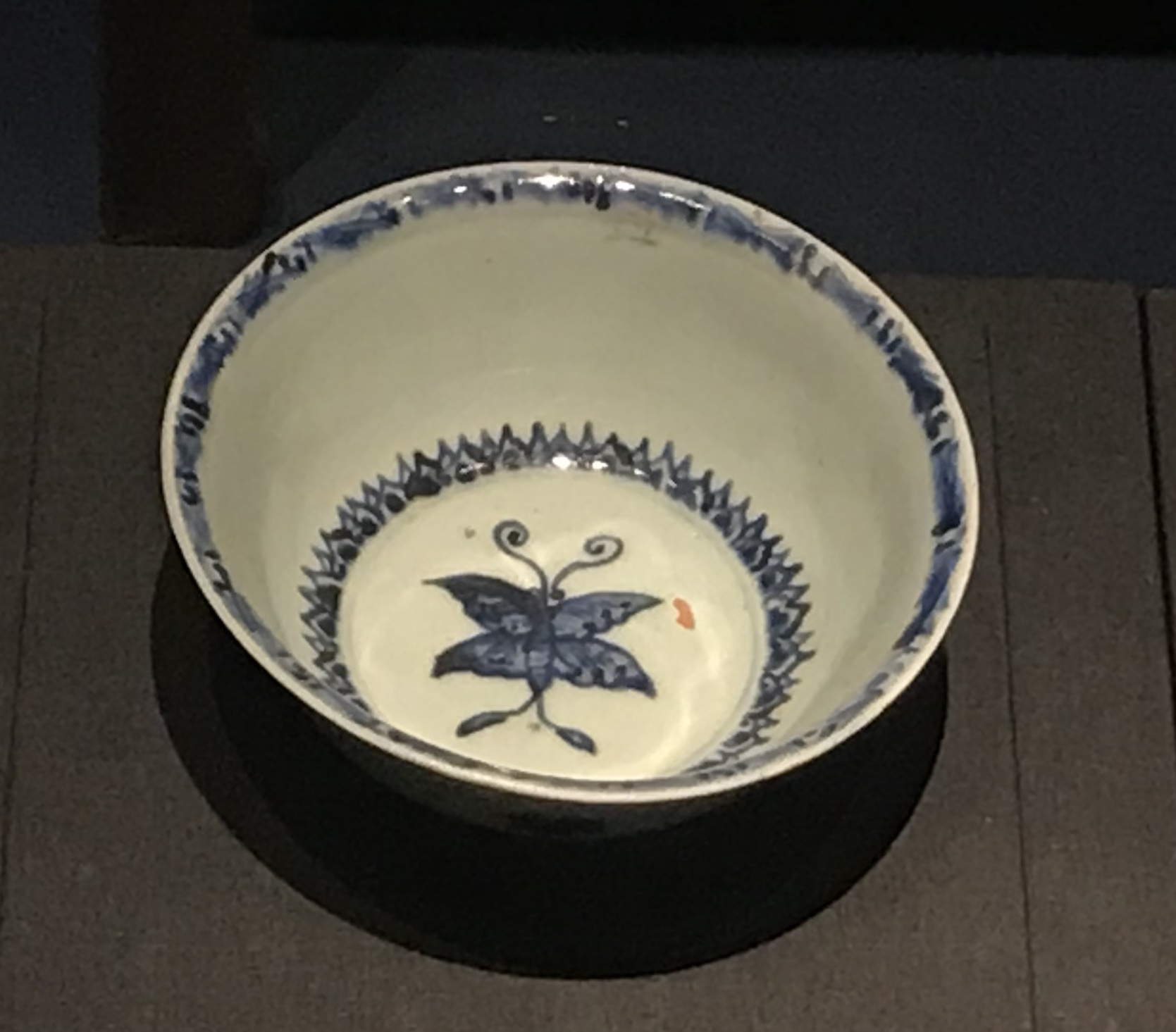 青花蝴蝶花朵磁碗-明清時代-常設展F3-成都博物館