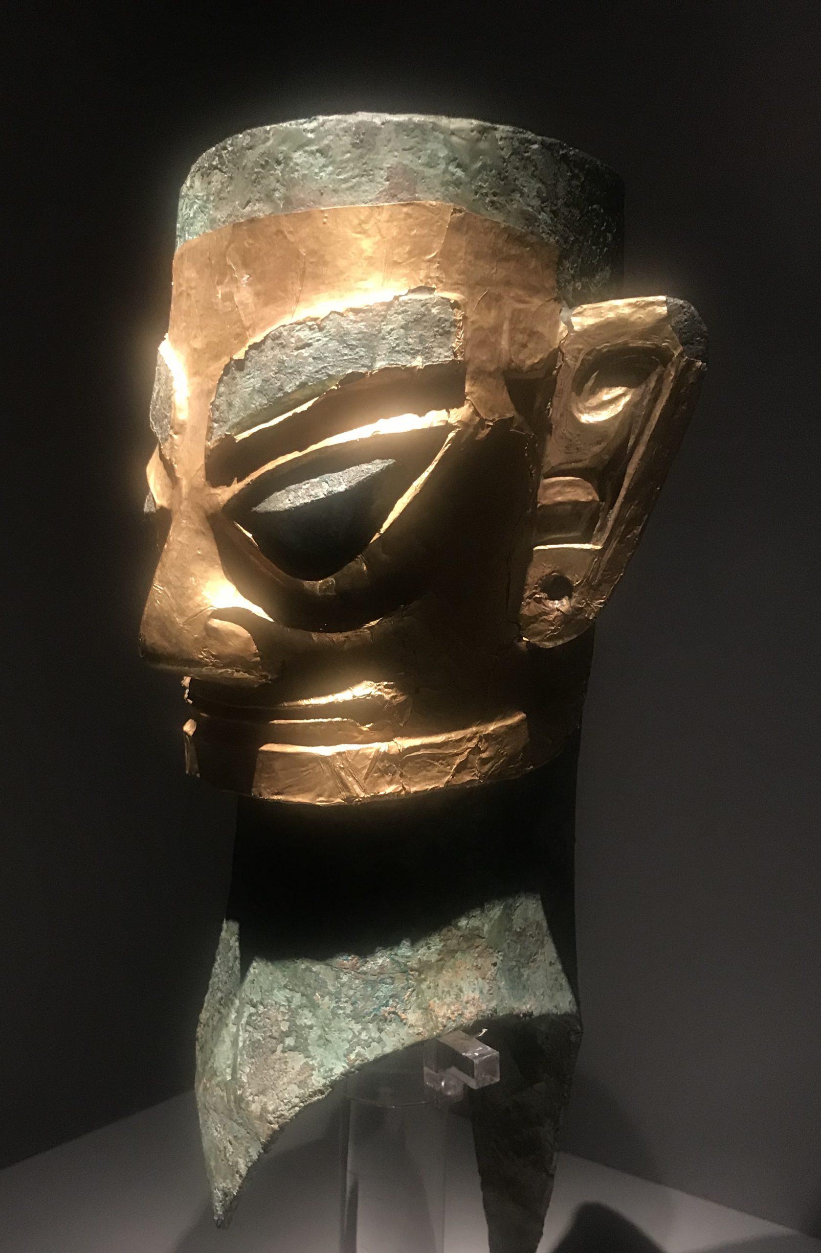 金マスク青銅人頭像-青銅器館-三星堆博物館-広漢市-徳陽市-四川省