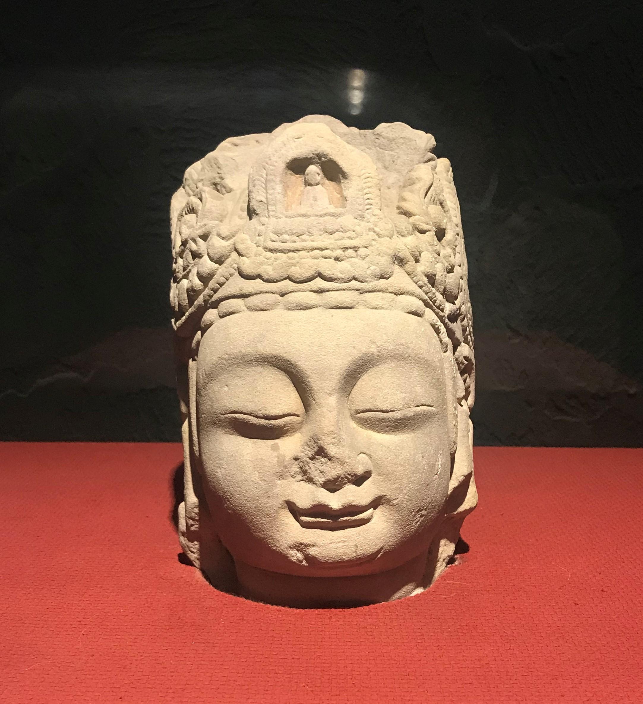 菩薩頭像1-唐代-四川万仏寺石刻館-四川博物院-成都