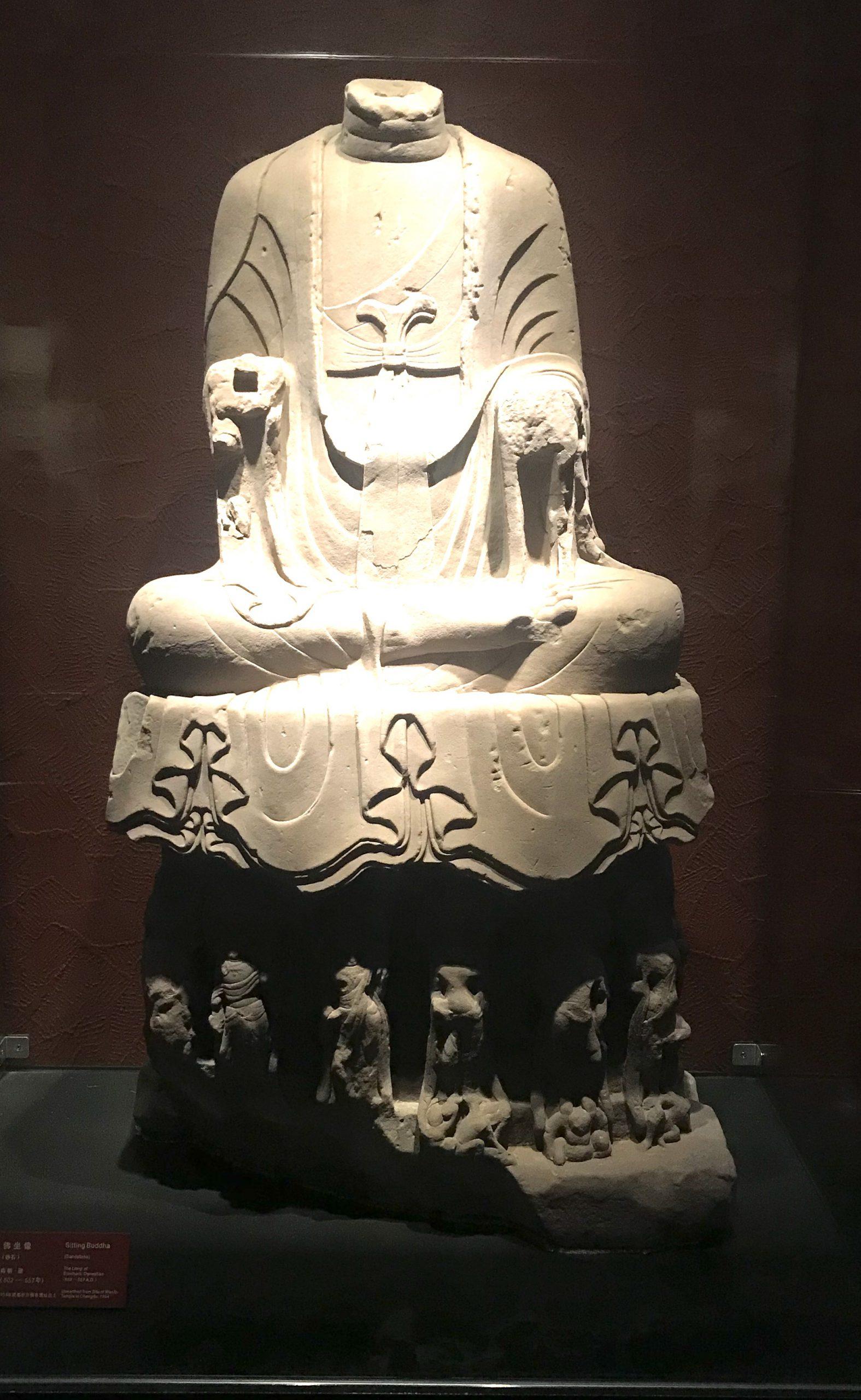 仏坐像1-南朝・梁-四川万仏寺石刻館-四川博物院-成都