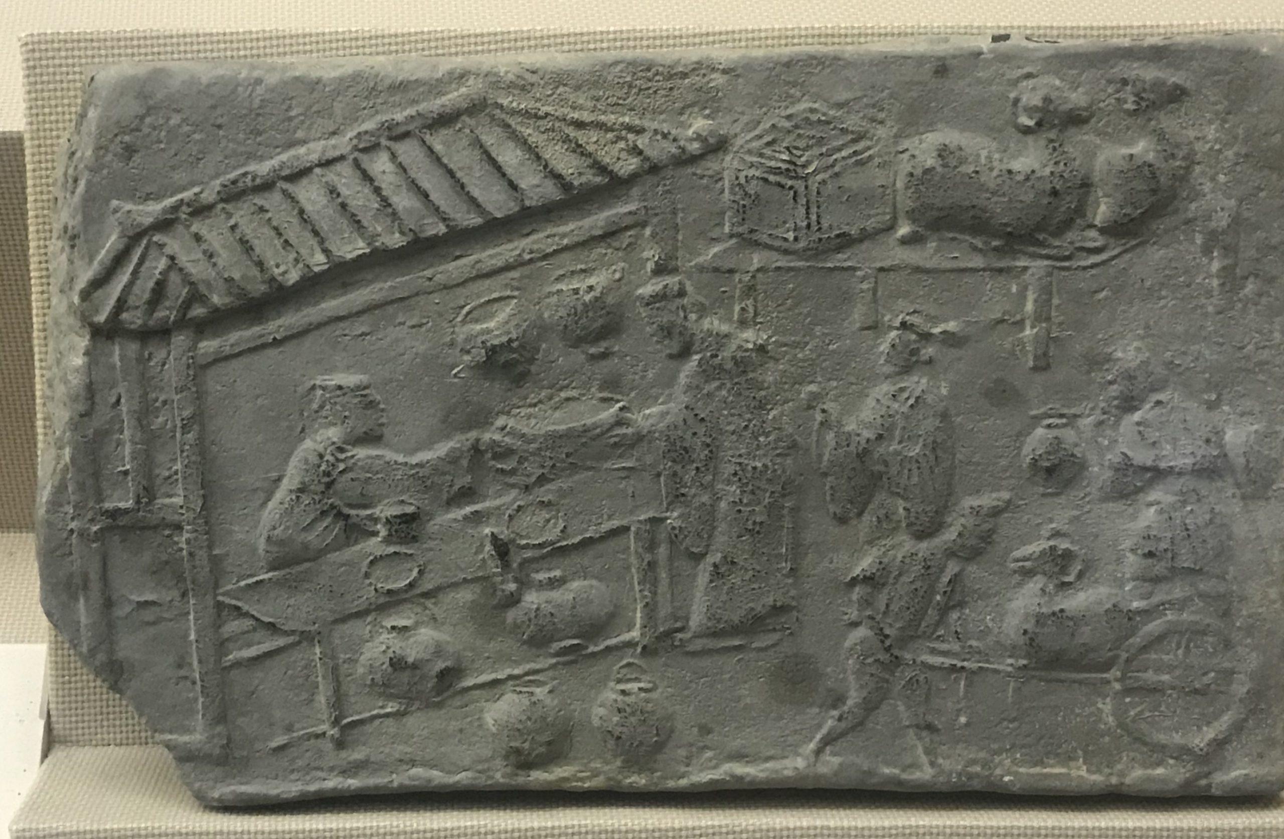 羊尊酒肆画像レンガ-東漢- 彭州市昇平-四川漢代陶石芸術館-四川博物院-成都