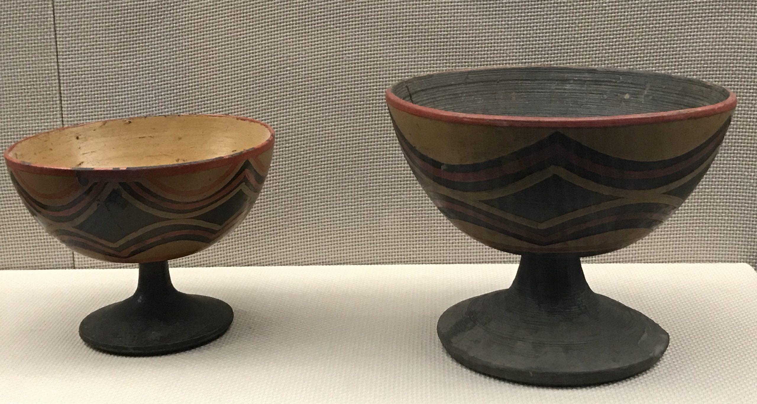 彩絵漆高足碗-漆山羊角杯-彜族漆器-四川民族文物館-四川博物館-成都
