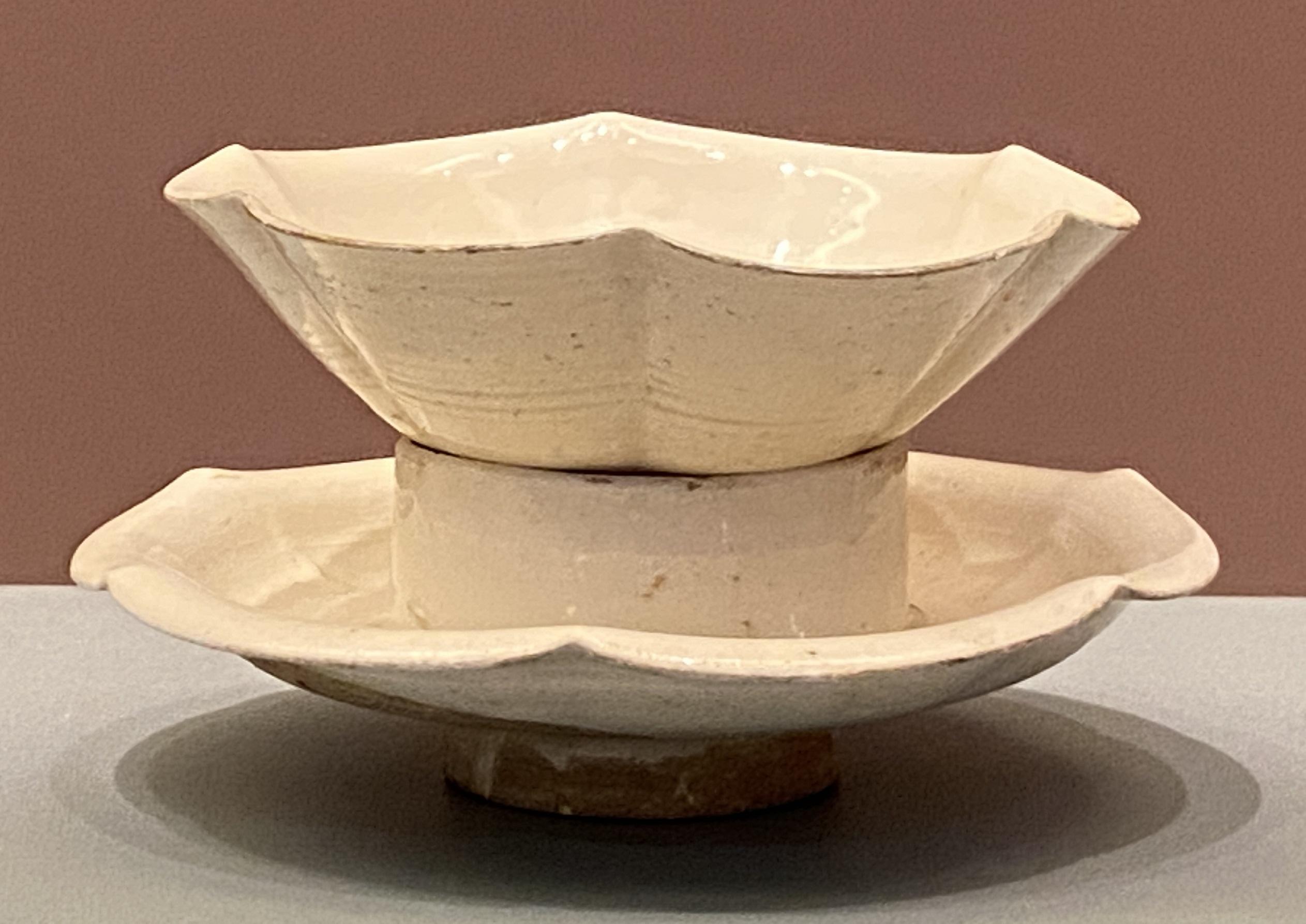 白釉花式帯托磁盏-北宋時代-特別展【食味人間】四川博物院・中国国家博物館