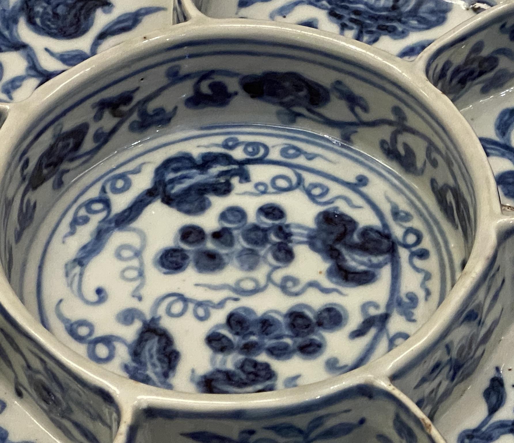 宣徳青花花果八格食盤-明時代-特別展【食味人間】四川博物院・中国国家博物館