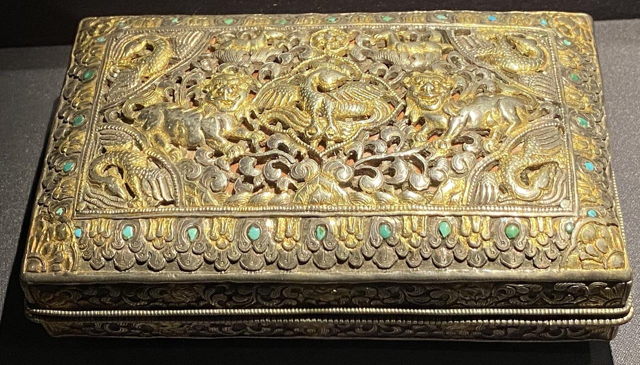 銀鎏金双獅紋盒-特別展【七宝玲瓏-ヒマラヤからの芸術珍品】-金沙遺跡博物館-成都