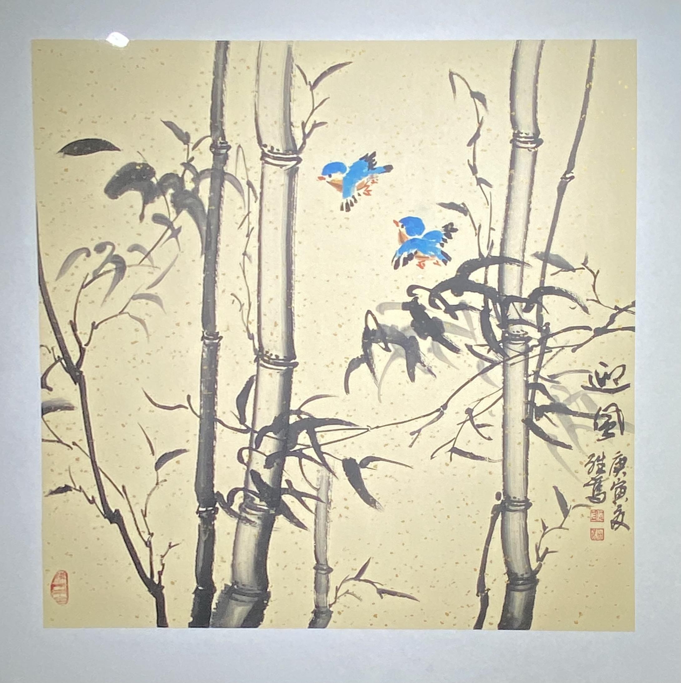 迎風-2010-中国画-68×68-「丹青を振りかけ、詩情を送る-何継篤個人書画展」成都市美術館