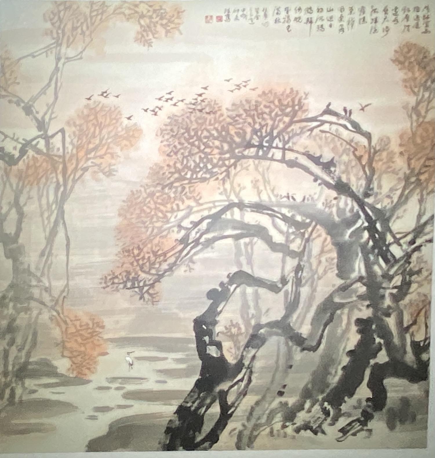 杜甫詩意-1994-中国画-97×90-「丹青を振りかけ、詩情を送る-何継篤個人書画展」成都市美術館