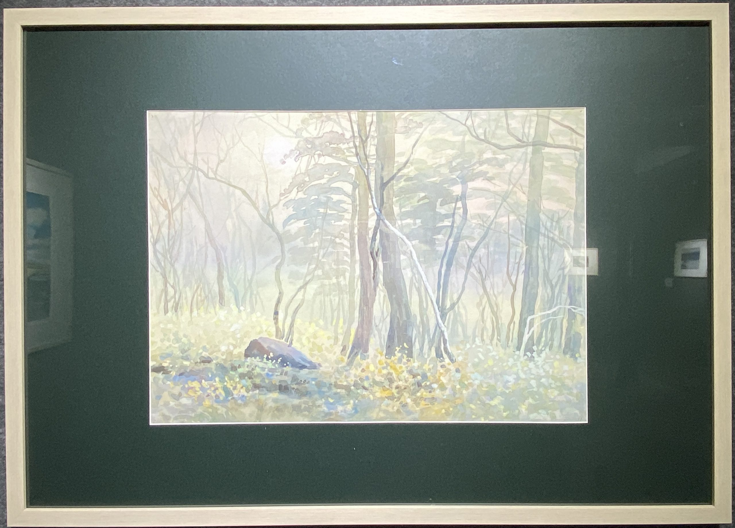 秋林の朝-1984-水彩画-39×54cm-「丹青を振りかけ、詩情を送る-何継篤個人書画展」成都市美術館