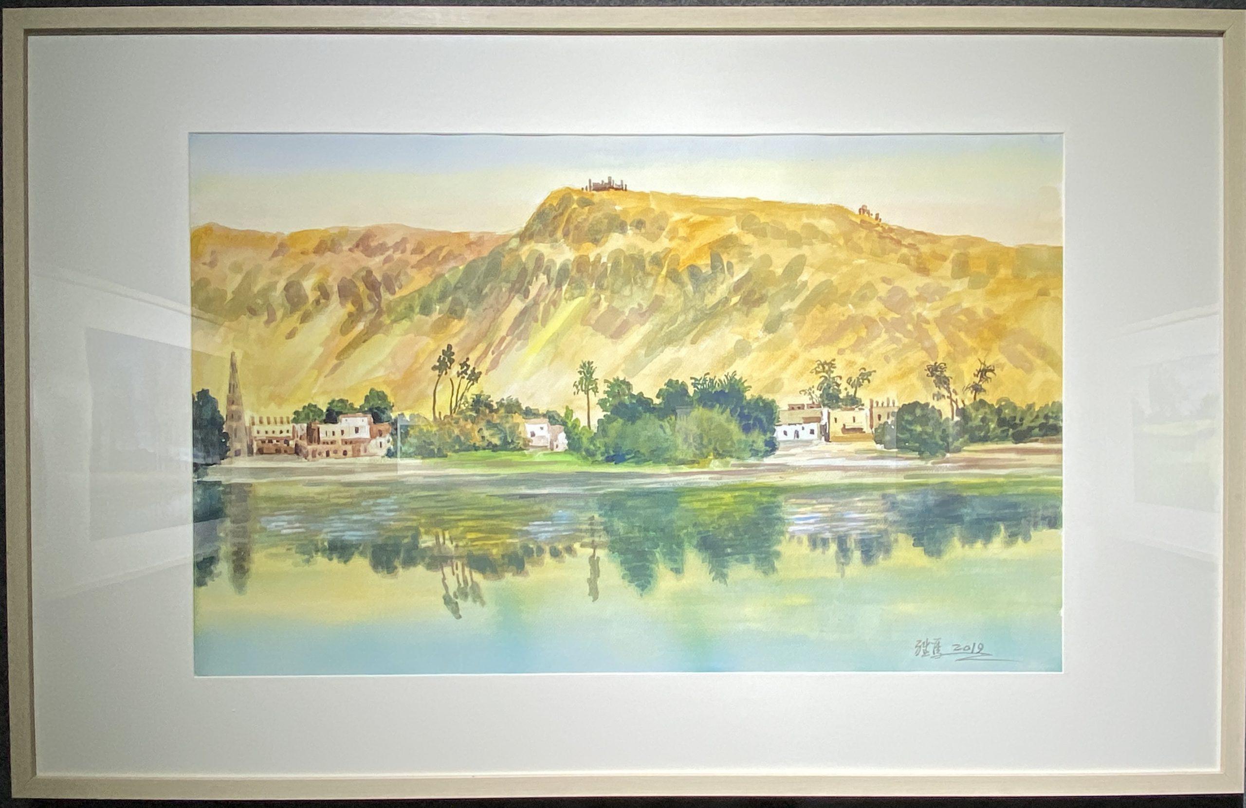 ナイルの上-1957-水彩画-29.5×38cm-「丹青を振りかけ、詩情を送る-何継篤個人書画展」成都市美術館