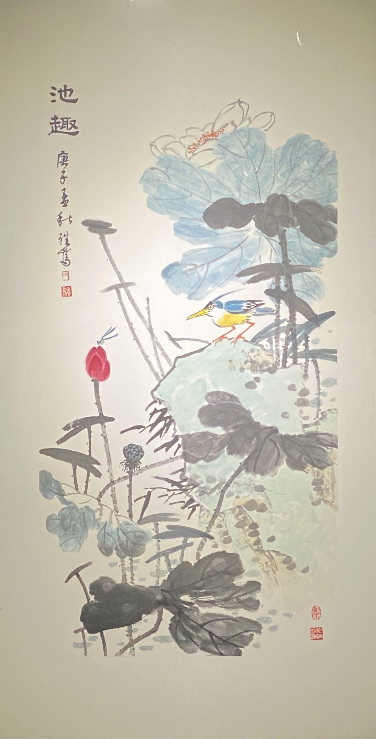 池趣-2020-中国画-138×70cm-「丹青を振りかけ、詩情を送る-何継篤個人書画展」成都市美術館